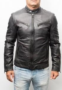 veste cuir de couleur gris