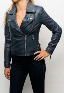 Blouson Perfecto cuir Serge Pariente City Girl Navy