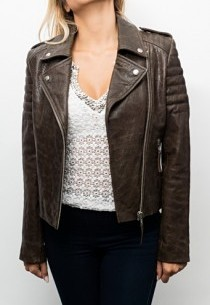 Blouson Perfecto cuir Serge Pariente City Girl Brown