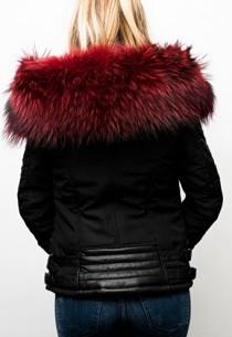 Blouson Femme Horspist Nounou Noir Col Rouge