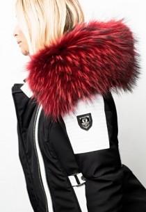 Blouson Femme Horspist Milano Bis Noir/Blanc Col Rouge
