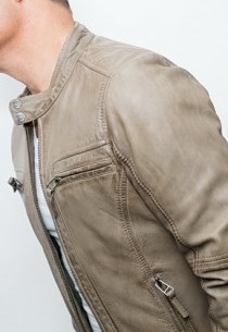 blouson cuir gris