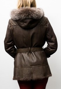 Veste Peau Fourrure Giovanni Veronika Marron