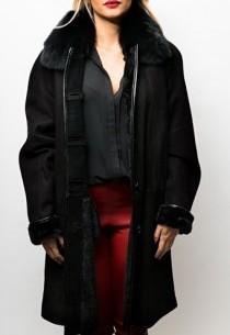 Manteau peau lainée Giovanni Isabelle Noir